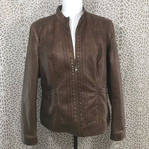 Sonoma Jacket Large Faux Leather Brown